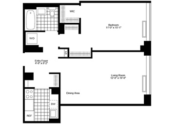 High floor 1 bedroom 1 bathroom. Southern exposure. Apartment features extra high ceiling, stainless steel kitchen, wood strip flooring, walk in closet and more closets, in home washer & dryer and solar shades.
