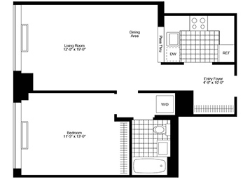 Quiet 1 bedroom 1 bathroom with northern exposure. Apartment features pass thru stainless steel kitchen, in home washer & dryer, wood strip flooring, great closets and solar shades.
