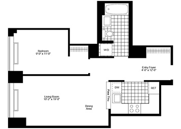 1 Bedroom, 1 Bathroom apartment featuring southern exposure, a pass-through kitchen, floor-to-ceiling windows, brand new plank wood floors, and an in-home washer and dryer.