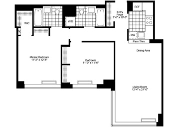 2 Bedroom, 2 Bath, Corner, Terrace Luxury Apartment Floor Plan