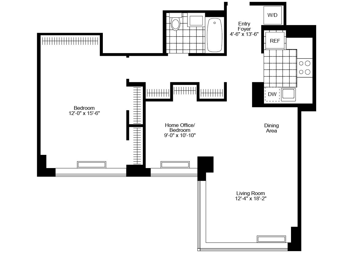 Jr 4, 1 Bath, Corner Luxury Apartment Floor Plan
