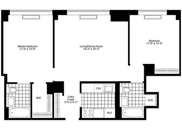 High Floor 2 bedroom 2 bathroom. Northern exposure. Apartment features open view of Empire State Building, stainless steel kitchen, split bedrooms, in home washer & dryer, walk in closet, and solar shades.