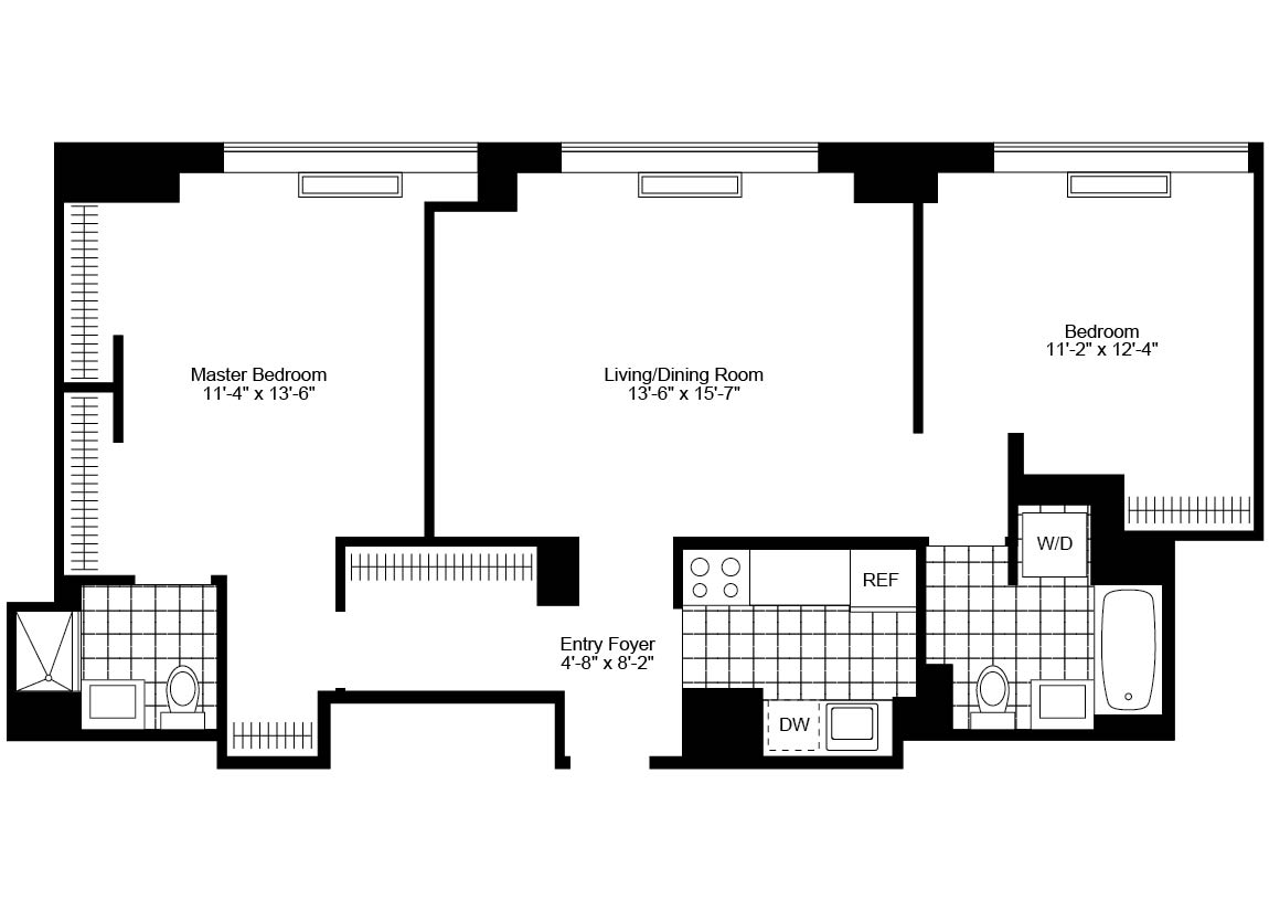 2 Bedroom, 2 Bath, Terrace Luxury Apartment Floor Plan