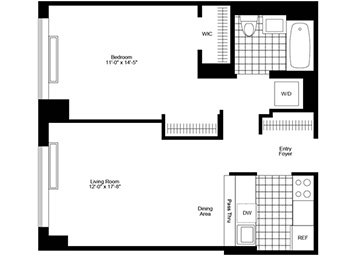 1 bedroom/1 bathroom facing south featuring high ceilings, private terrace and in-home washer and dryer.