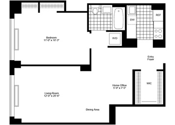 Spacious 1 bedroom facing north featuring dining alcove, walk-in closet and in-home washer and dryer.