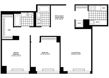 2 bedroom/ 2 bathroom facing south featuring courtyard views, dining alcove, walk-in closet and in-home washer and dryer.