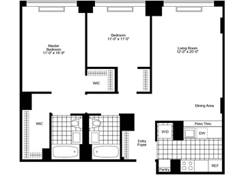 2 bedroom/2 bathroom featuring large private terrace, pass-through kitchen, walk-in closets and in-home washer and dryer.