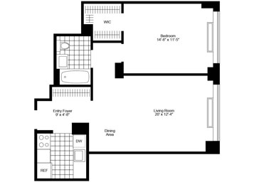 "1 Bedroom/1 Bathroom with eastern exposure, great closet space (including large ""walk-in"" closet), and ""pass-thru"" kitchen."