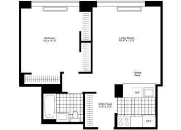 """1 Bedroom/1 Bathroom with bright eastern exposure, gourmet """"pass-thru"""" kitchen, and amazing closet space."""