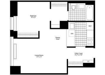 "JR. 1 Bedroom /1 Bathroom with northern exposure, ""walk-in"" closet, and spacious ""pass-thru"" kitchen."