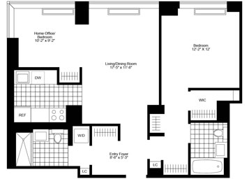 1 Bed, 2 Bath, Corner Luxury Apartment Floor Plan