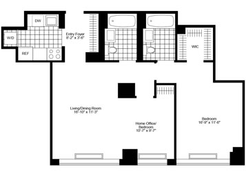 """High floor Jr.4 /Convertible 2 Bedroom/2 Bathrooms with southern exposure, in-unit washer/dryer, and customized """"walk-in"""" closet."""