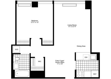 "Pent House, 1 Bedroom/1 Bathroom with dining foyer, large ""walk-in"" closet, ""pass-thru"" kitchen, great light, and in-home washer and dryer."