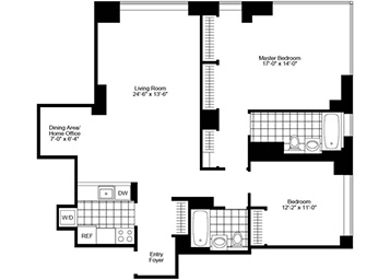 2Bedroom/2Bathroom with north/east exposure, pass-thru kitchen with stainless steel appliances, home office and amazing closet space.