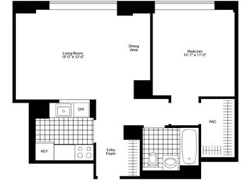 1Bedroom/1Bathroom with bright southern exposure, pass-thru kitchen, and huge walk-in closet.