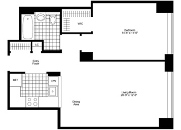 1Bedroom/1Bathroom with northern exposure, pass-thru kitchen, strip wood flooring and walk-in closet.