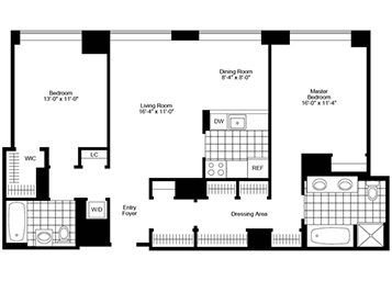 Flex 2 Bedroom, 2 Bath Luxury Apartment Floor Plan