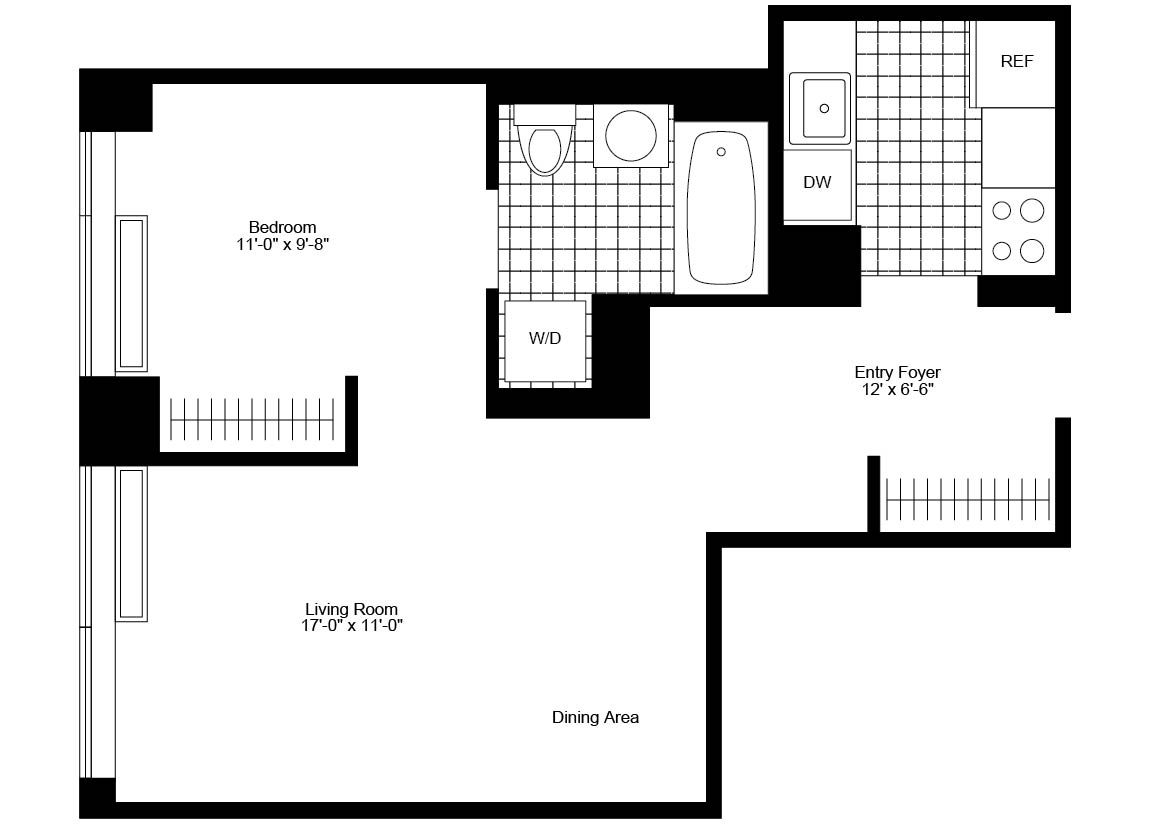 Junior 1 Bedroom, 1 Bath, Terrace Luxury Apartment Floor Plan