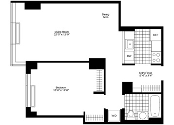 Large 1 bedroom facing South pass through kitchen In home washer and dryer 3 large closets floor to ceiling windows