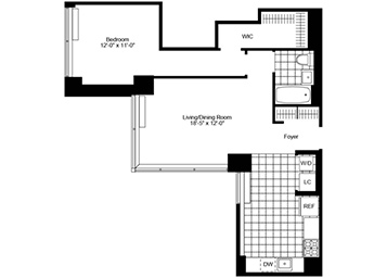 1 Bedroom, 1 Bathroom with Northern exposure, gourmet eat-in kitchen, walk-in closet and a washer and dryer in the unit.