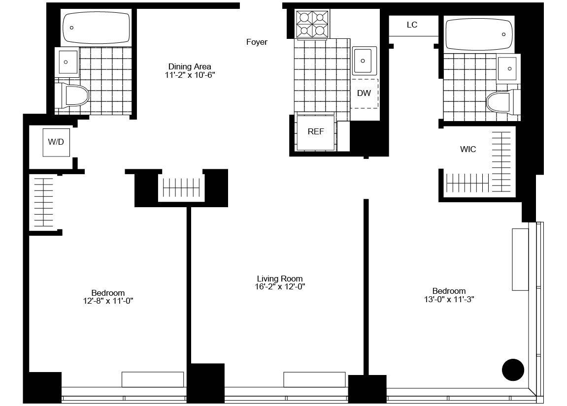 2 Bedroom, 2 Bath Luxury Apartment Floor Plan