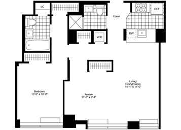 Large 1 Bedroom, 2 Bathroom apartment featuring southern exposure, an L shaped living room,  pass-through kitchen, and an in-home washer and dryer.