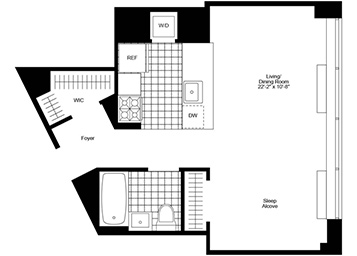 Alcove studio with eastern exposure, open kitchen, walk-in closet, a wall of windows and a washer and dryer in the unit.