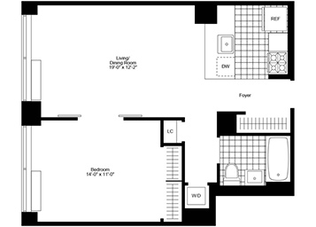 Spacious 1 Bedroom, 1 Bathroom apartment with open kitchen, Highline views, and a washer and dryer in the apartment.