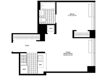 Jr. 1 Bedroom, 1 Bathroom apartment featuring southern exposure, great closet space, and an in-home washer and dryer.