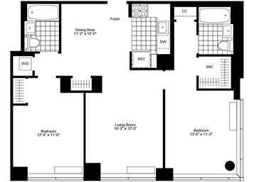 Split 2 bedroom / 2 bathroom with South exposures, separate dining area, designer kitchen with stainless steel appliances and bamboo style cabinetry, generous closet space, cornered master bedroom including walk-in, and in-unit washer/dryer and 10.5ft ceilings. Visit us now to see your new home!