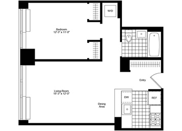 1 Bedroom, 1 Bathroom apartment featuring city and river views, a pass-through kitchen and an in-home washer and dryer.