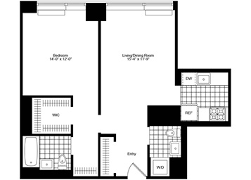 1 Bedroom, 1.5 Bath Luxury Apartment Floor Plan