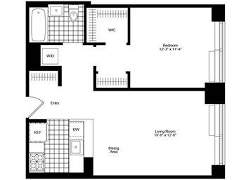 1 Bedroom, 1 Bathroom apartment with high ceilings facing southeast and featuring river views, a pass-through kitchen, great closet space that includes a walk-in closet, and an in-home washer and dryer.
