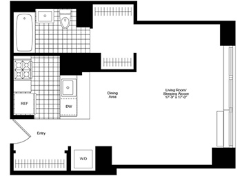Loft Studio, 1 Bath Luxury Apartment Floor Plan