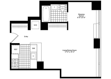 Spacious and sunny alcove studio featuring high ceilings, city skyline and river views, large closets, pass-through kitchen and an in-home washer and dryer.