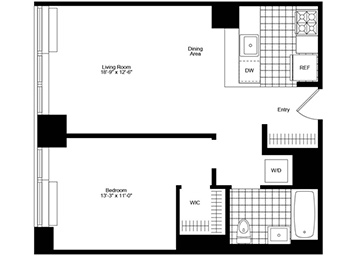 1 Bedroom, 1 Bathroom apartment on a high floor featuring high ceiling, river and city views, a pass-through kitchen, a walk-in closet, and an in-home washer and dryer.