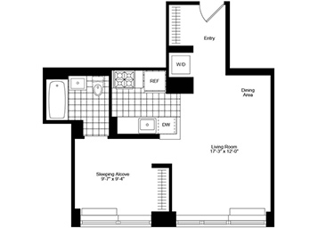Jr. 1 Bedroom, 1 Bath Luxury Apartment Floor Plan
