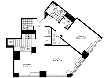 1.5 Bedroom, 1.5 Bath Luxury Apartment Floor Plan