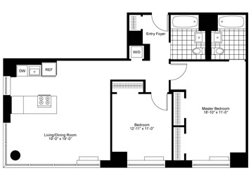 2 Bedrooms, 2 Baths Luxury Apartment Floor Plan