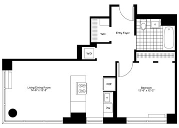Massive corner 1Bedroom, 1 Bathroom with spacious pass-through kitchen, high floor with stunning southern exposure flooding the apartment with natural sunlight, and an in-home washer dryer.