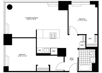 2 Bedrooms, 1 Bath Luxury Apartment Floor Plan