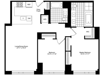 2 Bedroom / 2 Bathroom apartment featuring southern exposure. Apartment features a large living space with an open kitchen, equipped with top-of-the-line appliances, great closet space, including a walk-in and a master bathroom with a double vanity sink, soaking tub and an edgeless glass stall shower. Apartment comes equipped with a full capacity washer/dryer.