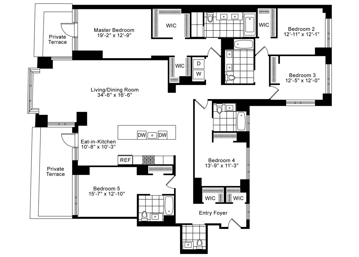 5 Bedrooms, 4.5 Baths Corner Luxury Apartment Floor Plan