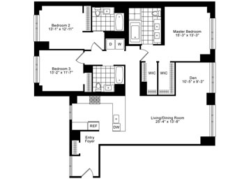 3 Bedrooms, 3 Baths Luxury Apartment Floor Plan