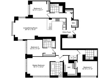 4 Bedrooms, 4 Baths Luxury Apartment Floor Plan