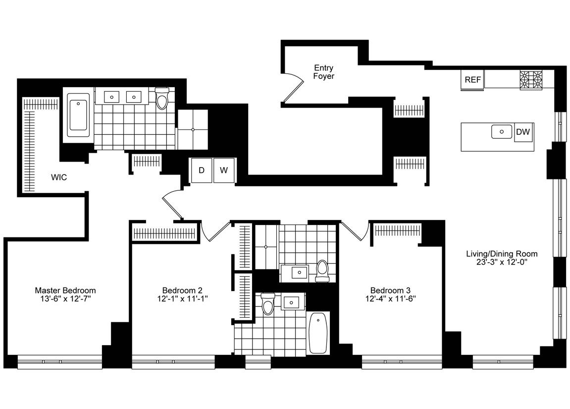 3 Bedrooms, 3 Baths Corner Luxury Apartment Floor Plan