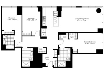 3 Bedroom, 3 Bath, Corner Luxury Apartment Floor Plan