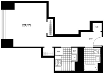 Studio unit on the 3rd floor with southern exposure. Two large closets.