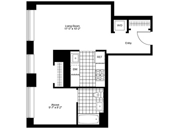 Studio unit on the 4th floor with separate sleeping alcove.