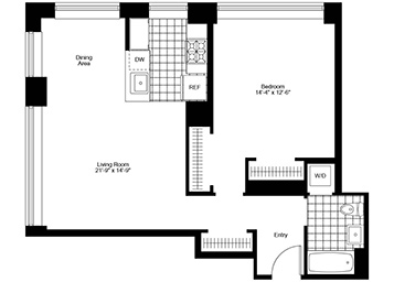 Corner one bedroom one bath unit with separate dining area and lovely views of Trinity Church. Paying FULL broker fee!
